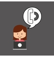 support assitance concept girl with telephone vector image
