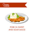 pork in sweet and sour sauce on plate isolated vector image
