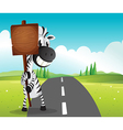 A narrow road with a zebra holding an empty vector image vector image