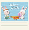 cartoon happy easter couple bunny egg vector image