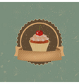 Vintage Cupcake With Cherry And Ribbon vector image