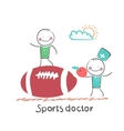 Sports doctor giving an apple to the person who vector image vector image