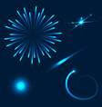 Set of different flares on blue background vector image