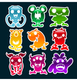 Colorful Glossy Monsters vector image