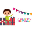 happy birthday card with kids vector image