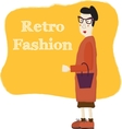 Old cartoon woman wearing fashion glasses vector image