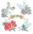 set of bouquet with blooming flowers vector image