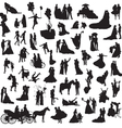 set of silhouettes of wedding couples vector image