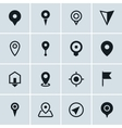 Map location icons set of 16 pointers symbols vector image