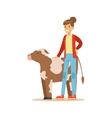 Woman Standing Next To Cow Calf Farmer Working At vector image
