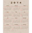 2014 calendar year in vintage style vector image vector image