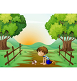 A young boy and his pet in the middle of the vector image