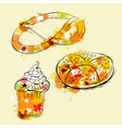 card with sweets and pretzel vector image vector image