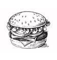 black hand drawn hamburger vector image
