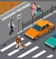 blind person on crosswalk isometric vector image