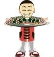 Cartoon asian waiter vector image