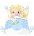 Sick boy in bed vector image
