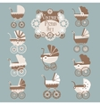 Vintage Prams-Baby carriage set vector image