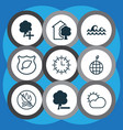 set of 9 eco icons includes delete woods ocean vector image