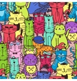 Seamless doodle cat pattern vector image