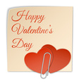 two heart sticker and paper clip vector image