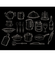 Kitchen Utensils on a Chalkboard Background vector image
