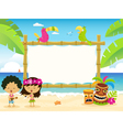 Hawaiian Billboard With Kids vector image vector image