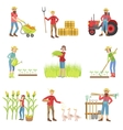 People Working On The Farm Set vector image