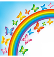 Background with butterfly and rainbow vector image
