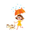 girl walks with dog umbrella in rain vector image