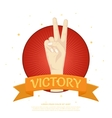 Victory label with two fingers from the palm vector image