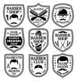 set of Barber Labels for shops etc vector image