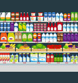 store shelves with products background vector image