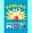 colorful sport bowling clup poster vector image