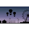 collection stock amusement park scenery silhouette vector image