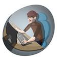 hacker at the computer vector image