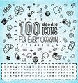 100 Doodle Icons Universal Set vector image vector image