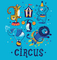 set of circus cartoon animals vector image