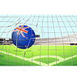 A ball hitting a goal with the New Zealand flag vector image