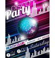 Disco Party Flyer Design with disco ball vector image vector image
