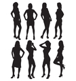 eight silhouettes of beautiful girls vector image vector image