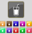 Soft drink icon sign Set with eleven colored vector image