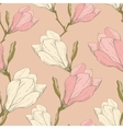 Pink Vintage Magnolia Flowers Fabric Retro vector image