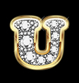 letter u gold and diamond vector image