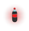 Plastic bottle with a red label icon comics style vector image