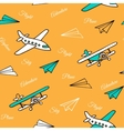 Yellow seamless pattern of cute airplanes vector image