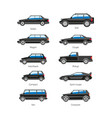 car or automobile body type names flat vector image