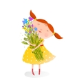 Cute girl with bouquet of flowers vector image