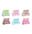 Happy Easter hand lettering labels vector image