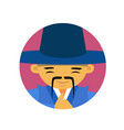portrait of asian man with mustache and hat in vector image